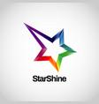 shiny colorful rainbow logo with star track logo vector image vector image