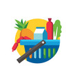 shopping cart full groceries vector image