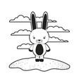 sketch silhouette monochrome scene cute rabbit vector image