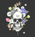 Smiling Skull and Flowers Day of The Dead Black vector image vector image
