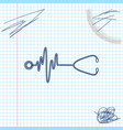 stethoscope with a heart beat line sketch icon vector image vector image