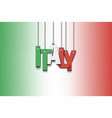 the word italy hang on the ropes vector image