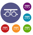 trial frame for checking patient vision icons set vector image vector image