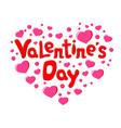 valentine s day text and many of little hearts on vector image vector image