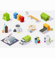 waste sorting and recycling process isometric icon vector image