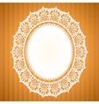 White lace doily on an orange background vector image vector image