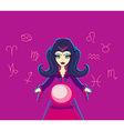 Young beautiful woman with crystal ball vector image