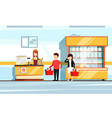 saleswoman in supermarket interior people vector image