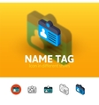 Name tag icon in different style vector image