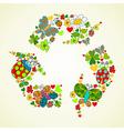 Springtime green recycle icon vector image