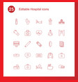 25 hospital icons vector image vector image