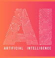 artificial inteligence word for education design vector image