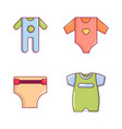 baby clothes icon set cartoon style vector image