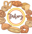 bakery hand drawn background with bread and loaf vector image vector image