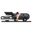 black couple pushes the broken car vector image vector image