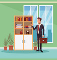 businessman working cartoon vector image