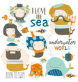 cartoon set with little mermaids under sea vector image