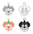 clown icon in cartoon style isolated on white vector image vector image