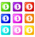 coin dollar icons 9 set vector image vector image