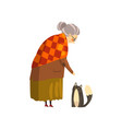 cute granny and her black cat lonely old lady and vector image vector image