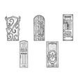 doors wooden sketch engraving vector image vector image