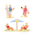 elderly people characters relaxes on a sea beach vector image vector image