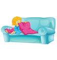 Girl on sofa vector image vector image