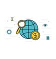 globe world magnifier money business vector image vector image