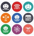 Halloween party icons Pumpkin symbol vector image vector image