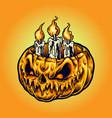 halloween pumpkins candle light vector image vector image