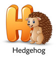 letter h is for hedgehog cartoon alphabet vector image