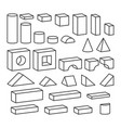 line style blocks toy details for coloring book vector image