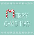 Merry Christmas Candy Cane text Snowflake frame vector image