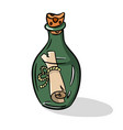 message in the bottle icon in cartoon style vector image