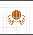 open book and globe icon stock vector image vector image