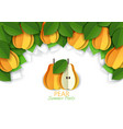 paper cut yellow pear background frame vector image