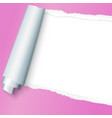 realistic pink torn open paper with space for text vector image vector image