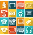Retro media icons vector image vector image
