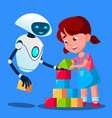 robot baby sitter playing cubes with child vector image vector image