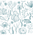 Seamless monochrome pattern with marine hand drawn