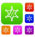 sheriff star set color collection vector image vector image