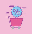 shopping cart discount percent offer sale vector image