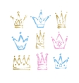 sketch drawing princess and king crown vector image