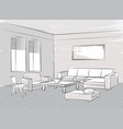 sketch of interior beautiful room living room vector image