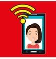 smartphone wifi woman online vector image