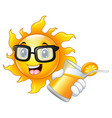 smiling sun showing orange juice vector image