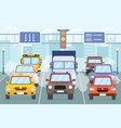 traffic jam cars on city road with smoke smog vector image vector image