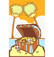Treasure Chest with Palm trees vector image