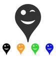 wink smiley map marker icon vector image
