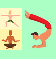 yoga positions mans characters class card vector image vector image